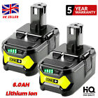 2X 18V 6.0AH For Ryobi One+ Plus P108 Lithium-ion Battery RB18L50 P104 RB18L40