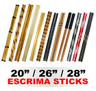 "New Escrima Sticks (Pair) Kali Arnis Martial Arts Weapon 20"" 26"" 28"" Add Case"