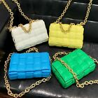 Metal Chain Padded Woven Real Leather Quilted Shoulder Bag Crossbody Clutch Bag