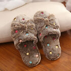 Women Bow Cotton Slippers Ladies Soft Soled Winter Warm Indoor Non-Slip Shoes