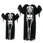 Kids Adults Skeleton Scary Halloween Costume Grim Reaper Ghost Scream Clothes
