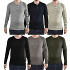 Mens Polo T-Shirt Long Sleeves Cotton Knitted Ribbed Cuff Lightweigt Jumper Top