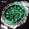 MEGIR Mens Chronograph Stainless Steel Waterproof Lumious Analogue 24-hour Watch