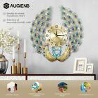 3D Large Wall Clock Luxury Peacock Metal Living Room Wall Watch Home  1+2 ❤