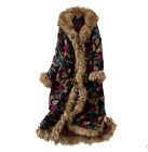 Women's Floral Bohemian Faux Fur Parka Thicken Hooded Coat Cotton-padded Jacket