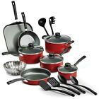 Primaware 18 Piece Non-Stick Cookware Set,  Ceramic Glass Cooktops, New Red/gry