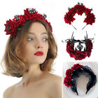 Party Costumes Hair Wreath Halloween Headbands Red Rose Crown Wedding Garland