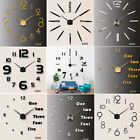 3D DIY Modern Wall Clock Numerals Large Mirrors Surface Art Clock Home   UK D1