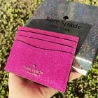 Kate Spade Cameron Lola Slim Card Holder Wallet Leather Grand Flora Pink Glitter