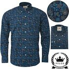 Relco Mens Navy Paisley Style Long Sleeve Shirt Button Down Collar Mod Floral