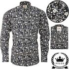Relco Mens Black White Floral Style Long Sleeve Shirt Button Down Collar Mod