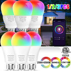 Smart LED Light Bulb 12W(70W) E26 A19 Multi-Color Dimmable For Alexa/Google Home