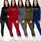 Women Velour Nicki Tracksuit Sportswear Yoga Suit Hooded Pockets Print Design
