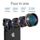 4in1 Phone Camera Lens Fisheye Wide Macro Telescope Clip For Samsung S20+ Note10