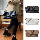 Real Leather Fold Over Flap Messenger Shoulder Bag Acrylic Chain Crossbody Purse
