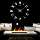 Modern DIY Large Wall Clock 3D Mirror Surface Sticker Home Decor Art Design