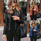 'Uk Womens Pu Leather Jacket Zipper Biker Jacket Ladies Blazer Coat Tops Outwear