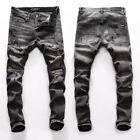 New Italy Pop Style Ripped Pants Destroyed Men's Skinny Black Jeans Slim AM8266T