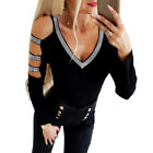 US Sexy Women Cold Shoulder Long Sleeve T Shirt V Neck Tops Slim Fit Blouse Tee
