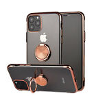 For iPhone 12 11 Pro Max XR 8 Plus Plating Clear Soft TPU Case Ring Holder Cover