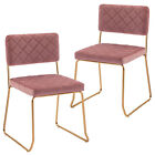 Dohome Modern Dining Chairs Set of 2 Armless Kitchen Accent Velvet Chairs Pink