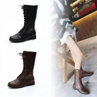 Womens Warm Mid Calf Leather  Boots Motorcycle Lace-Up Punk Block Shoes   B