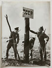 Original 1960s Soviet Union, CCCP Russian soldiers putting up border sign