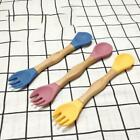 Baby Silicone Double-headed Fork Spoon Wooden Handle Learning Feeding Tableware