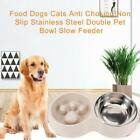 Anti Choking Feeder Double Bowl Stainless Steel Pet Stand Water Food Dog L9F8