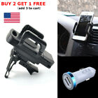 USB LED Car Charger Adapter & Air Vent Mount Holder Stand Mount For Phone GPS US