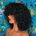 200Density Scalp Top Full Machine Made Wig Short Curly Human Hair Wig With Bangs