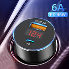 USB Type-C Car Charger 36W PD Fast Charge Adapter For iPhone 12 Pro Max Samsung