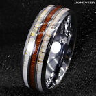 8mm Silver Tungsten Ring With Deer Antler Koa Wood Men Wedding Band ATOP Jewelry