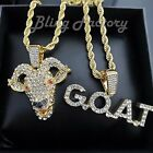 Hip Hop Iced Gold plated Goat & G.O.A.T Pendant & 4mm 24