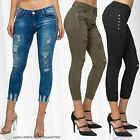 Womens Skinny Capri Jeans Destroyed Stretch Shorts Ankle Pants 7/8 Trousers