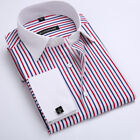 Mens Long Sleeves Dress Shirts Formal French Cuff Cufflink Business Strip Shirts