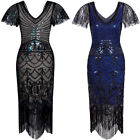 Women's 1920s Flapper Dress with Sleeves V Neck Beaded Mermaid Art Deco Dresses
