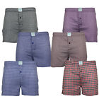 Men's Woven Regular Fit Elasticated Boxer Check Shorts Underwear In A Pack Of 3
