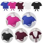 Kid Girl Backless Strappy Yoga Gym Crop Top Compression Workout Athletic T-Shirt