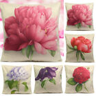 Square Flowers Rose Cotton Linen Throw Pillow Cover Cushion Case Sofa Be