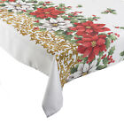 Manita Christmas Table Linen Festive Floral Poinsettia Polyester Xmas Tablecloth