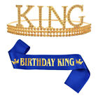 Birthday King Crown and Sash for Men Birthday Crown Party Decor Father Days Gift