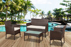 Rattan Garden Furniture Set 4pc Outdoor Table Chair Sofa Conservatory Patio Brow