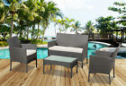 Grey 4 Pcs Rattan Garden Furniture Set Chair Sofa Table Patio Conservatory