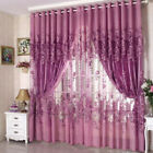 European Peony Pattern Voile Curtains Tulle Sheer Valances Home Decor US #BG