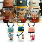 Cartoon Antler Cup Cute Straw Cup Portable Water Bottle Bottle Plastic Q1E3