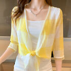 Summer Women Lightweight Checks Cardigan Shirt Sun Protection Cover Up Tops Coat