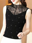 Women Mock Neck Lace Splice Knit Sleeveless Slim Stretchy Tank Top Blouse Shirts