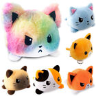 Cute Plush Cat Toys Reversible Double-Sided Flip Animals Doll Gift for Kids