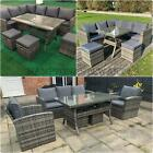 7 & 9 Seat Garden Furniture Sofa Dining Sets Rattan Outdoor Patio With Stools